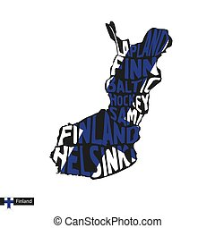 Typography map silhouette of Finland in black and flag...
