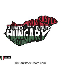 Typography map silhouette of Hungary in black and flag...