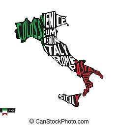 Typography map silhouette of Italy in black and flag colors.