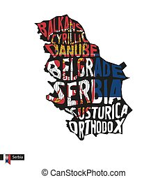 Typography map silhouette of Serbia in black and flag...
