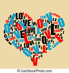 Typography retro love heart made from love word, vector illustration