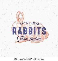 typography., schizzo, o, emblema, fattoria, vendemmia, astratto, sillhouette, effetto, mano, simbolo, segno, vettore, prodotti, retro, coniglio, disegnato, stampa, logotipo, stamp., template.