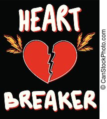 Typography slogan with heart vector for t shirt printing and embroidery