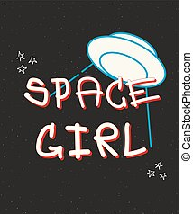 Typography slogan with ufo vector for t shirt embroidery or printing