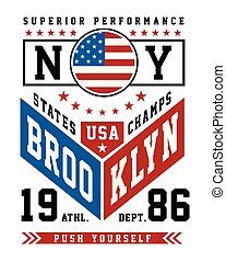 Typography Sport New York City Brooklyn For T-shirt