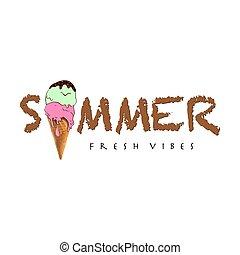 Typography Summer slogan with ice cream