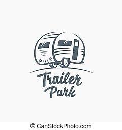 typography., template., remolque, silueta, vector, furgoneta, o, logotipo, turismo, icon., retro, etiqueta, parque