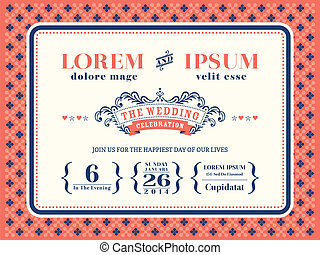Typography Wedding invitation frame template