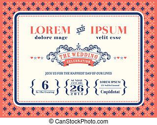 Vintage typography wedding invitation design template on vector typography wedding invitation frame template stopboris Gallery