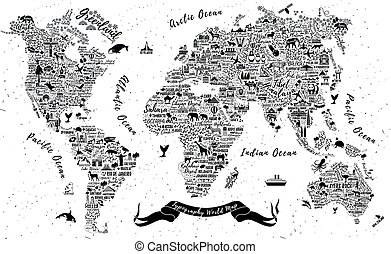 Typographic world map vector bon voyage typographic world map typography world map gumiabroncs Choice Image