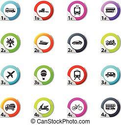 Typse of transport icons set