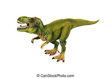 Tyrannosaur dinosaur plastic model on white background
