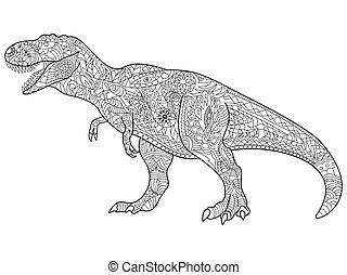 tyrannosaur, kleuren, vector, voor, volwassenen