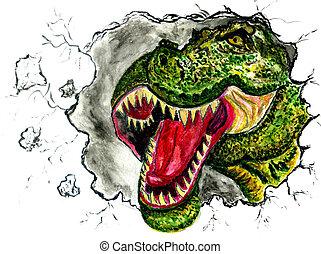 Tyrannosaur Portrait Art