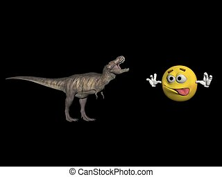 tyrannosaure dinosaur and emoticone - 3d render -...