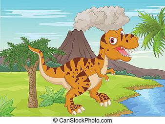 tyrannosauru, prehistórico, escena