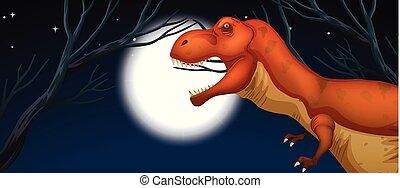 tyrannosaurus, フルである, 夜, 月