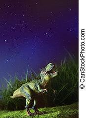 tyrannosaurus, auf, gras, nacht