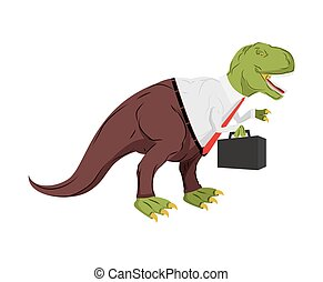 Tyrannosaurus businessman. Dino Boss. Chief with case is prehistoric dinosaur. Ancient lizard in suit