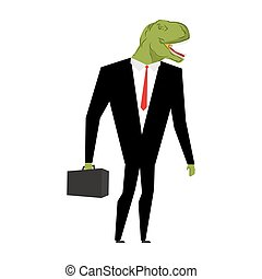 Tyrannosaurus businessman. dinosaur is boss. Dino manager....
