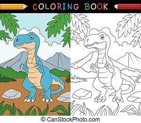 tyrannosaurus, coloration, dessin animé, livre
