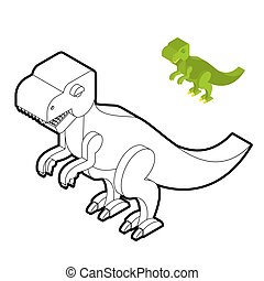 Tyrannosaurus coloring book. Dinosaur isometric style. Prehistoric monster linear style. Cute dino. Ancient reptiles of Jurassic period. T-rex predator animal