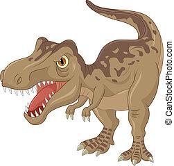 tyrannosaurus, dessin animé, fâché