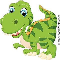 tyrannosaurus, dessin animé, heureux