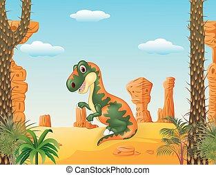 tyrannosaurus, dessin animé, rigolote