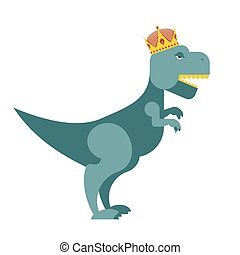 Tyrannosaurus Dinosaur King. T-Rex most important prehistoric monster in Crown. Terrible lizard of prehistoricperiod. Toothy predator reptile of Jurassic period.