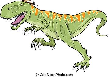 tyrannosaurus, dinosaure, vecteur