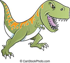 tyrannosaurus, dinosauro, tenace, vettore