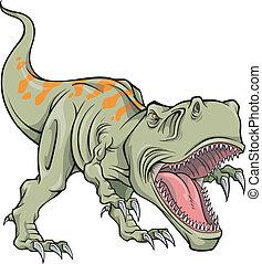 tyrannosaurus, dinosauro, vettore