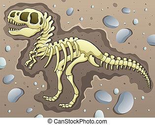 Tyrannosaurus excavation site - vector illustration.