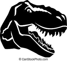 tyrannosaurus, fâché, tête