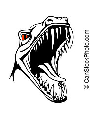 Tyrannosaurus head - Vector tyrannosaurus head on white...