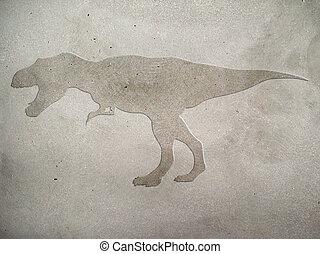 Tyrannosaurus - Image of tyrannosaur embossed on concrete...