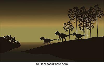 tyrannosaurus in riverbank scenery at the night