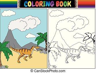 tyrannosaurus, livre coloration, dessin animé