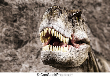 tyrannosaurus, mostrando, seu, boca, toothy