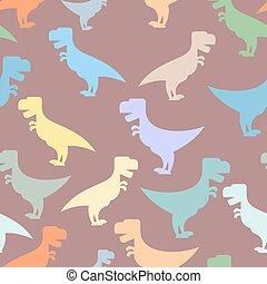 tyrannosaurus., répéter, texture, period., t-rex, modèle, tissue., reptile, prédateur, ornement, jurassique, préhistorique, arrière-plan., couleur, bébé, seamless, mignon, dinosaures