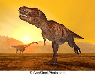 Tyrannosaurus Rex and Puertasaurus - Computer generated 3D...