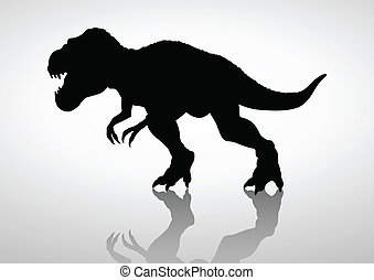 Tyrannosaurus Rex - Silhouette illustration of a...