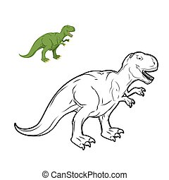 Tyrannosaurus Rex dinosaur coloring book. Prehistoric reptile linear style. Ancient predator. Animal Jurassic with big teeth. Aggressive beast. Terrible, angry lizard Polynesian era