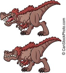 Tyrannosaurus Rex - Cartoon tyrannosaurus roaring and...