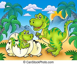 Tyrannosaurus rex in landscape - color illustration.
