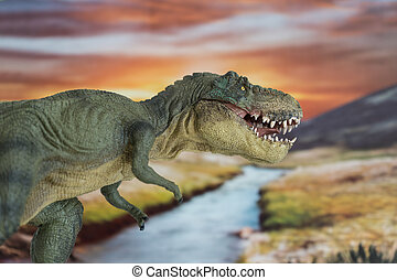 Tyrannosaurus rex in the foreground with cretaceous land in the background