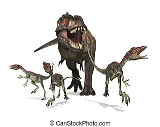 A tyrannosaurus rex chases three small compsognathus dinosaurs - 3D render.