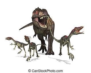 Tyrannosaurus Rex on the Hunt - A tyrannosaurus rex chases...