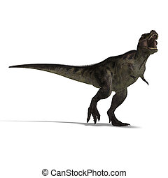 Tyrannosaurus rex - T-Rex. 3D render with clipping path and...